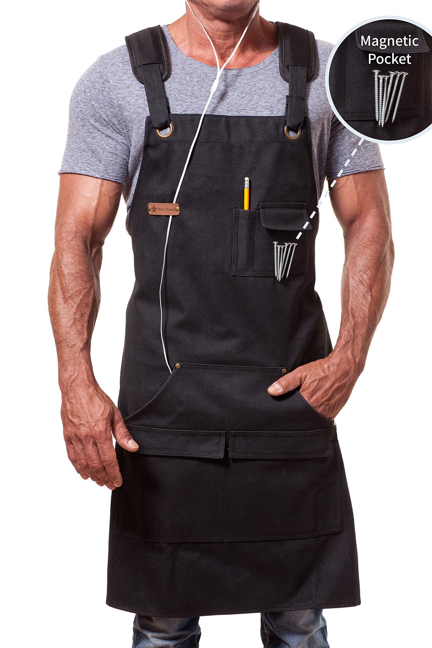 MENT Trends Work Apron For Men Women Heavy Duty Waxed Canvas Black Waterproof Shop Bib Adjustable M to XXL; Magnetic Pocket + Quick Release Buckle + Dual Tool Loops + Headphones Loop + Padded Straps by ARAWAK BRAVE