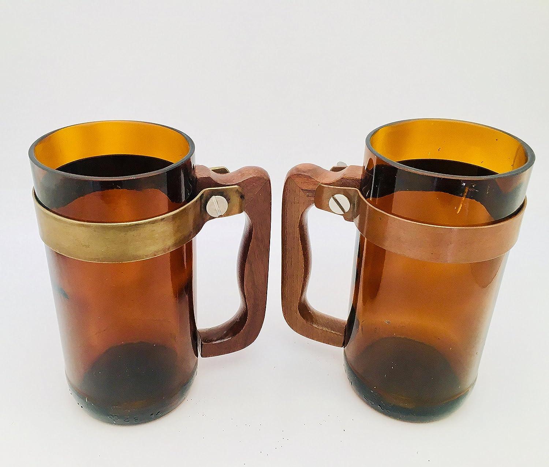Amazon Com Upcycled Beer Mug Made For Recycled Amber Brown Bottles Handmade