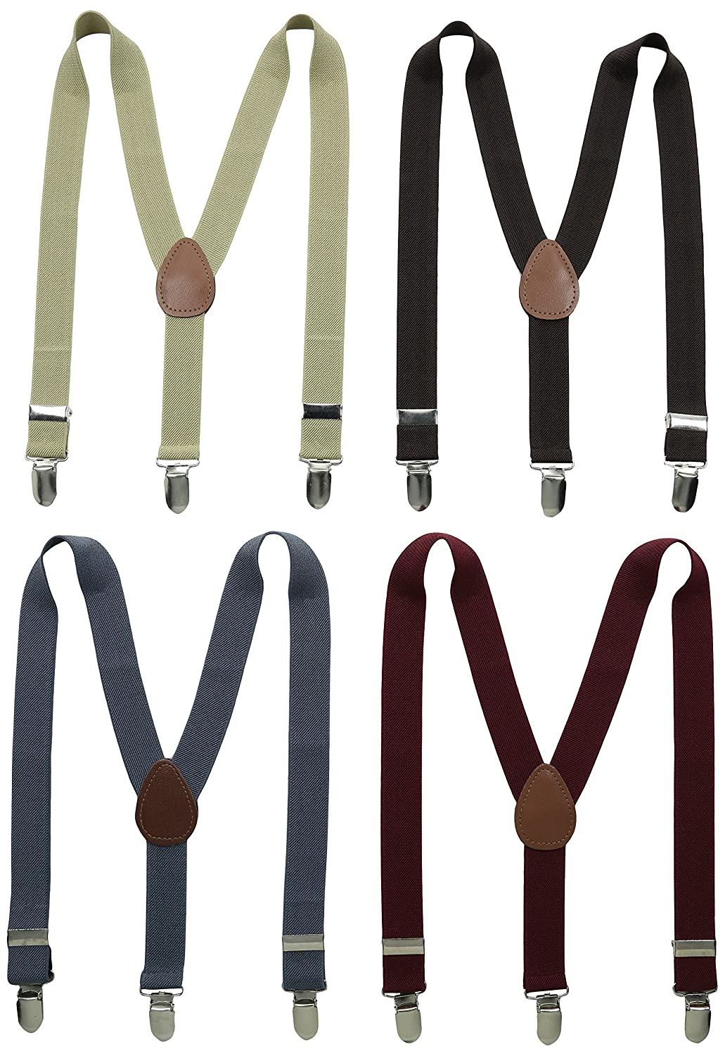 Bundle Monster 4 Pack Variety Easy Clip-On Suspenders for Kids & Toddlers w/Premium 1-Inch Adjustable Straps Y-Back Stretchy Polyester Skinny for Boys & Girls - Black, Khaki, Blue, Red