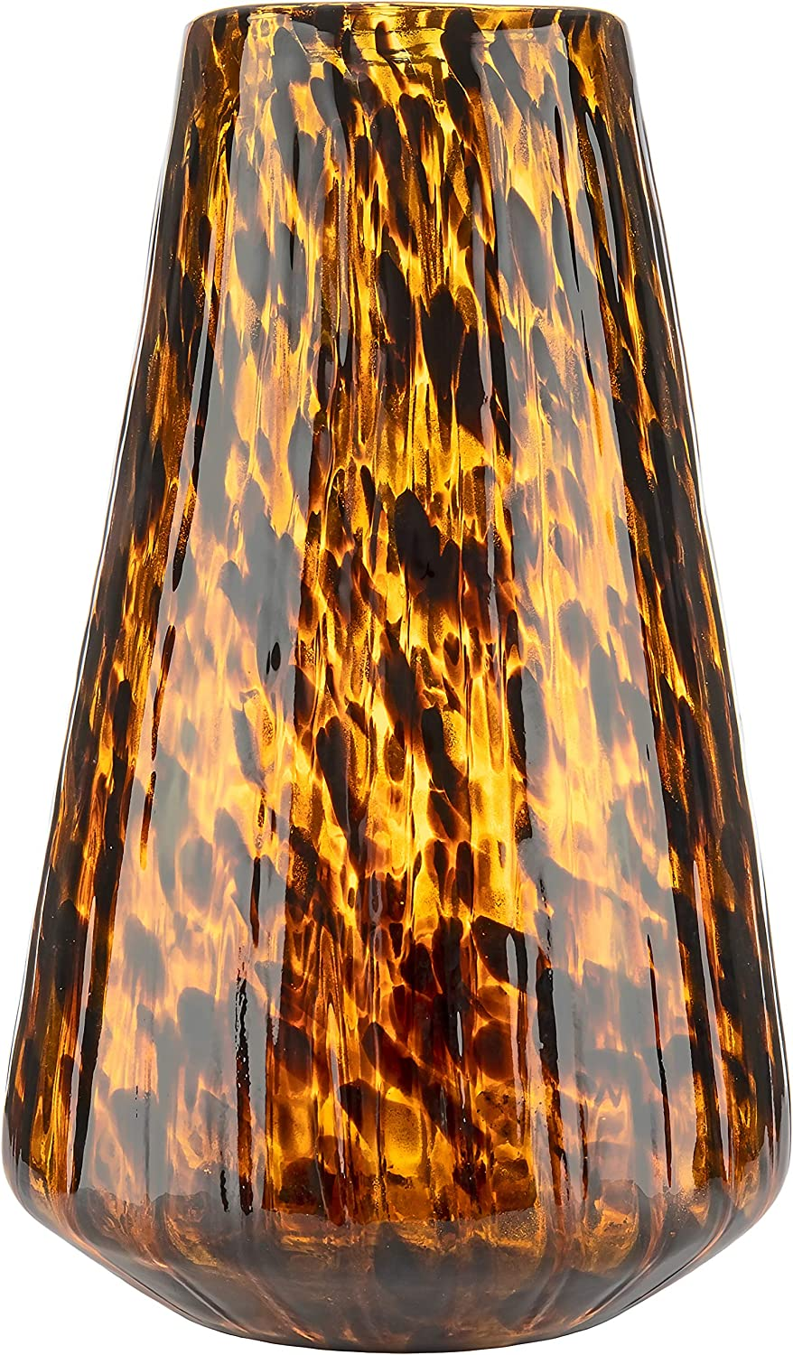 Large Handmade & Mouthblown Brown & Black Glass Decorative Flower Vase for Home Decor – Centerpiece or Floor – 14 inch/35.5cm Tall – Living Room, Dining Table, Statement, Lobby, Office, Decoration.