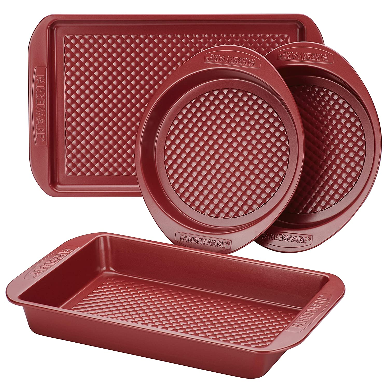 Farberware Colorvive Nonstick Bakeware Set, 4-Piece, Red