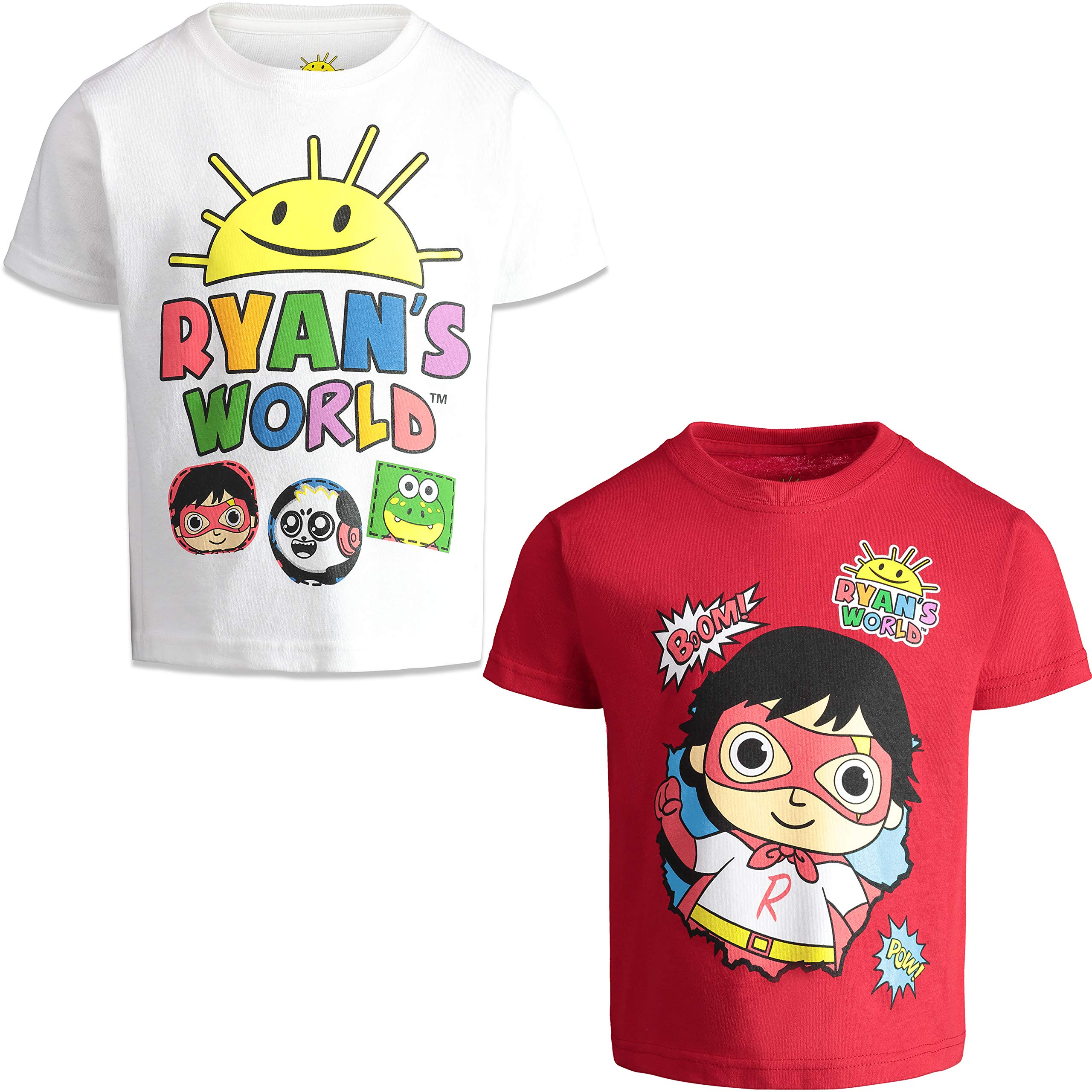 RYAN'S WORLD Boys' Short-Sleeve T-Shirts 2-Pack Graphic Tees, Little Kids 5T White/Red