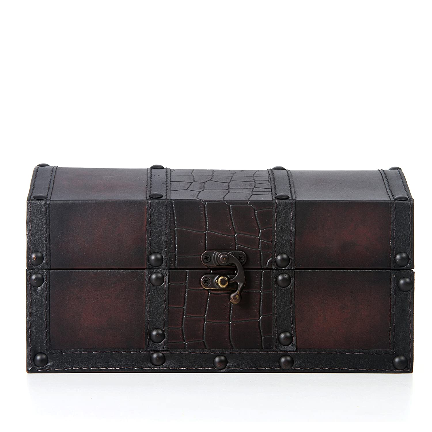 """Hosley Decorative Wooden Storage Box with Leather Clasp - 9"""" Long. Ideal Gift for Wedding, Special Occasion, Study, Home, Den, Dorm, Spa, Aromatherapy Settings, Memories O4"""