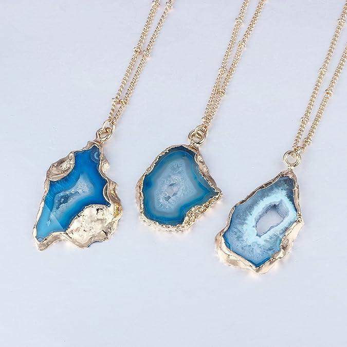 blue Druzy pendant Raw stone pendant Silver Plated Edge Geode agate Pendant JSP-6177 silver Agate slice pendant