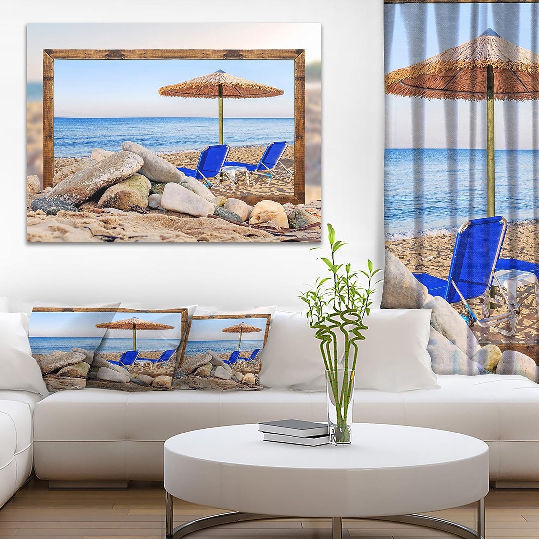 Amazon Com Framed Effect Beach With Chairs Umbrella Seashore Photo Canvas Art Print Posters Prints