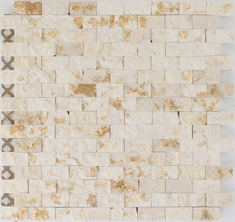 10 Matten Art es-53315/_f Natursteinmosaik Fliesen beige brick Wand WC K/üche