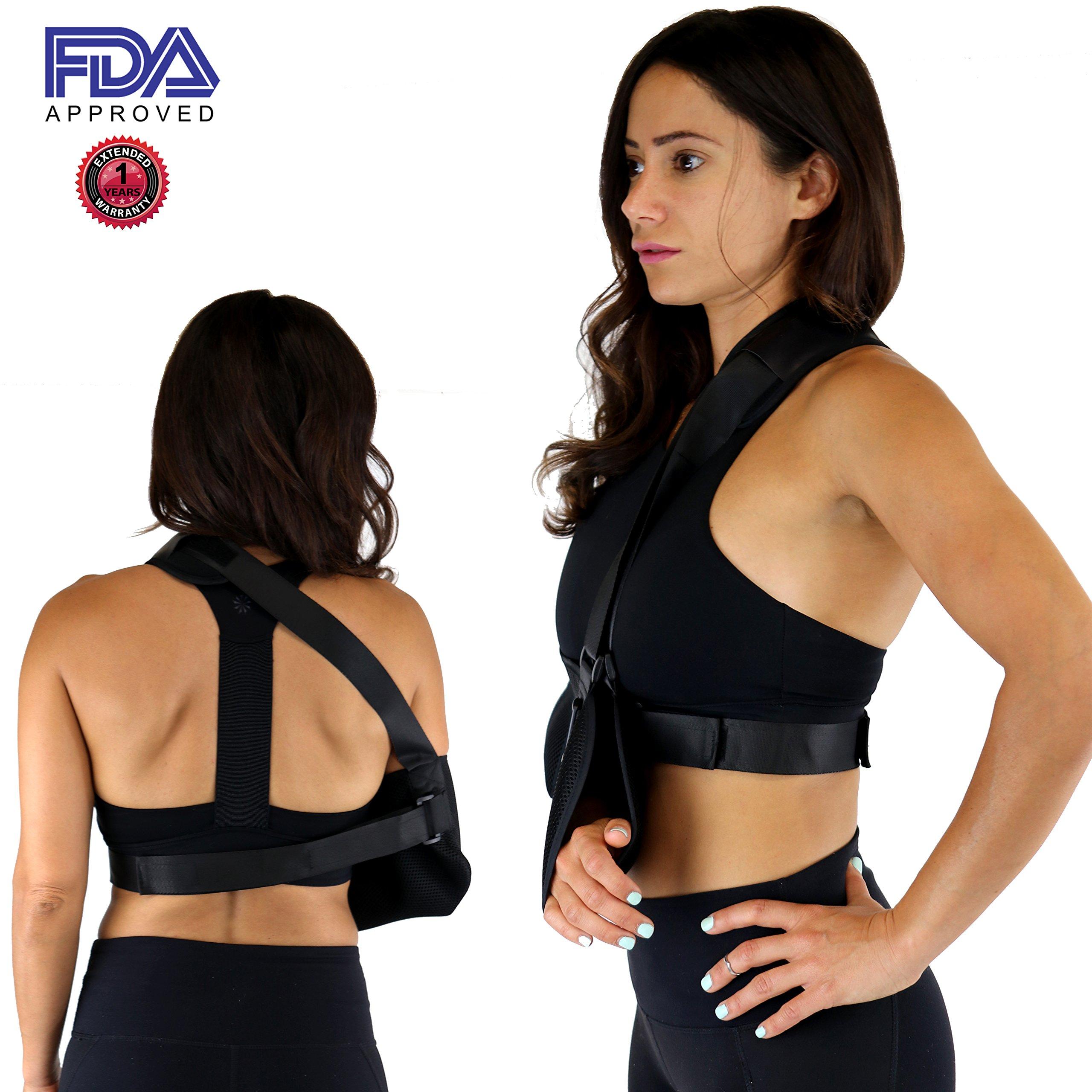 Everyday Medical Adjustable Arm Sling Support for Womens/Mens Shoulder Immobilizer with Adjustable Split Strap Neoprene Arm Sling Good for Treats Injured Arm, Wrist, Elbow, Shoulder, Etc