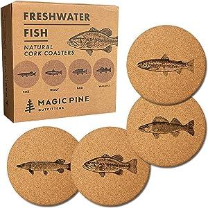 Freshwater Fish Cork Coasters (Set of 4)