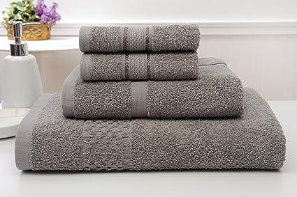 BIBB Home Premium 4 piezas Juego de toallas 100% algodón peinado grande y Super absorbente