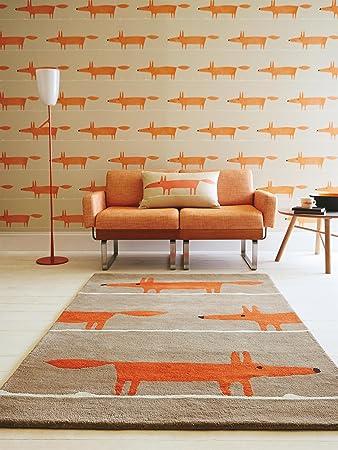 Scion Teppiche Moderner Designer Wollteppich Mr Fox Taupe 120x180