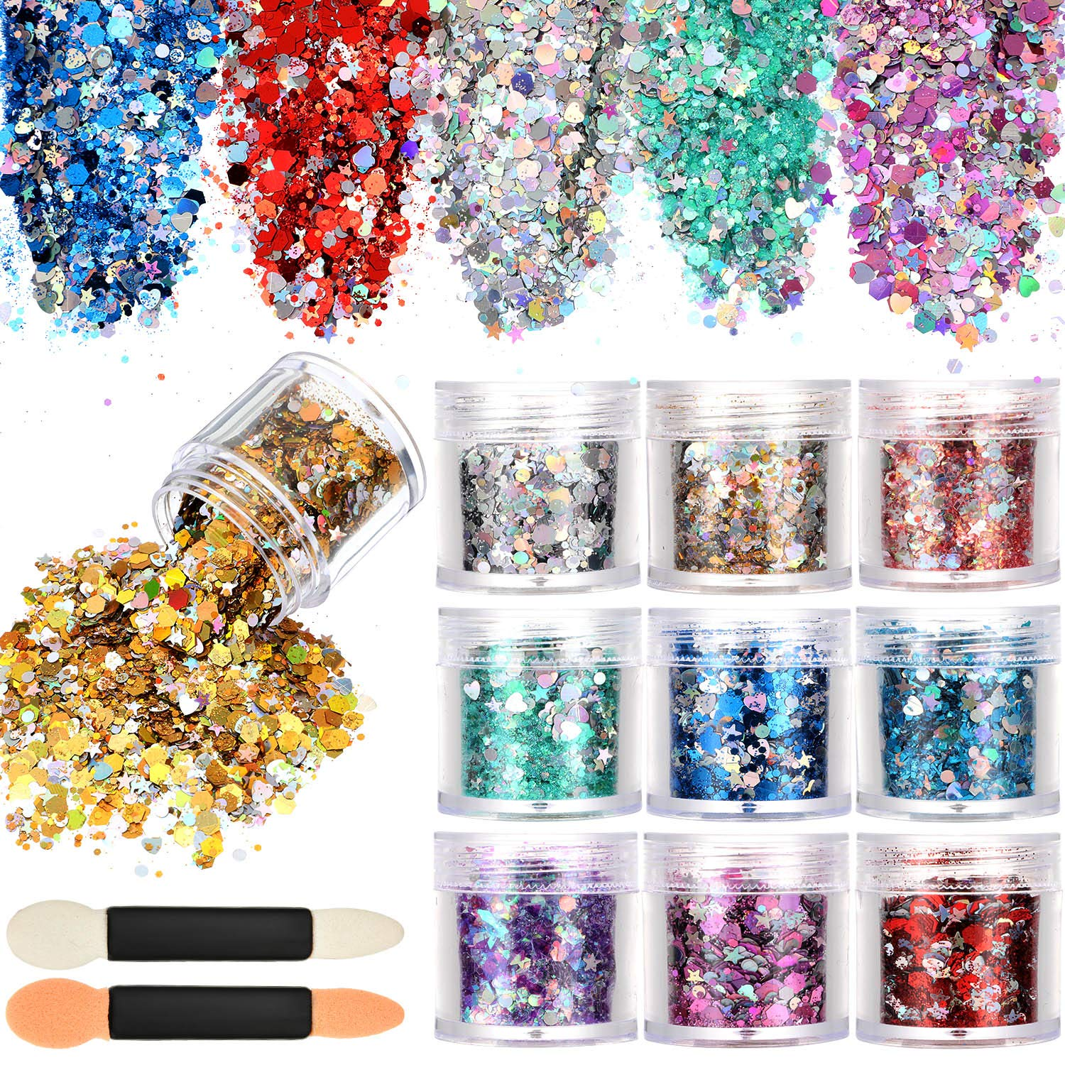 Tatuo 10 Boxes Nail Chunky Glitter Sequins Iridescent Flakes Cosmetic Paillette Ultra-thin Tips with 10 Pieces Eyeshadow Brushes for Face Body Hair Nails (Color Set 2)