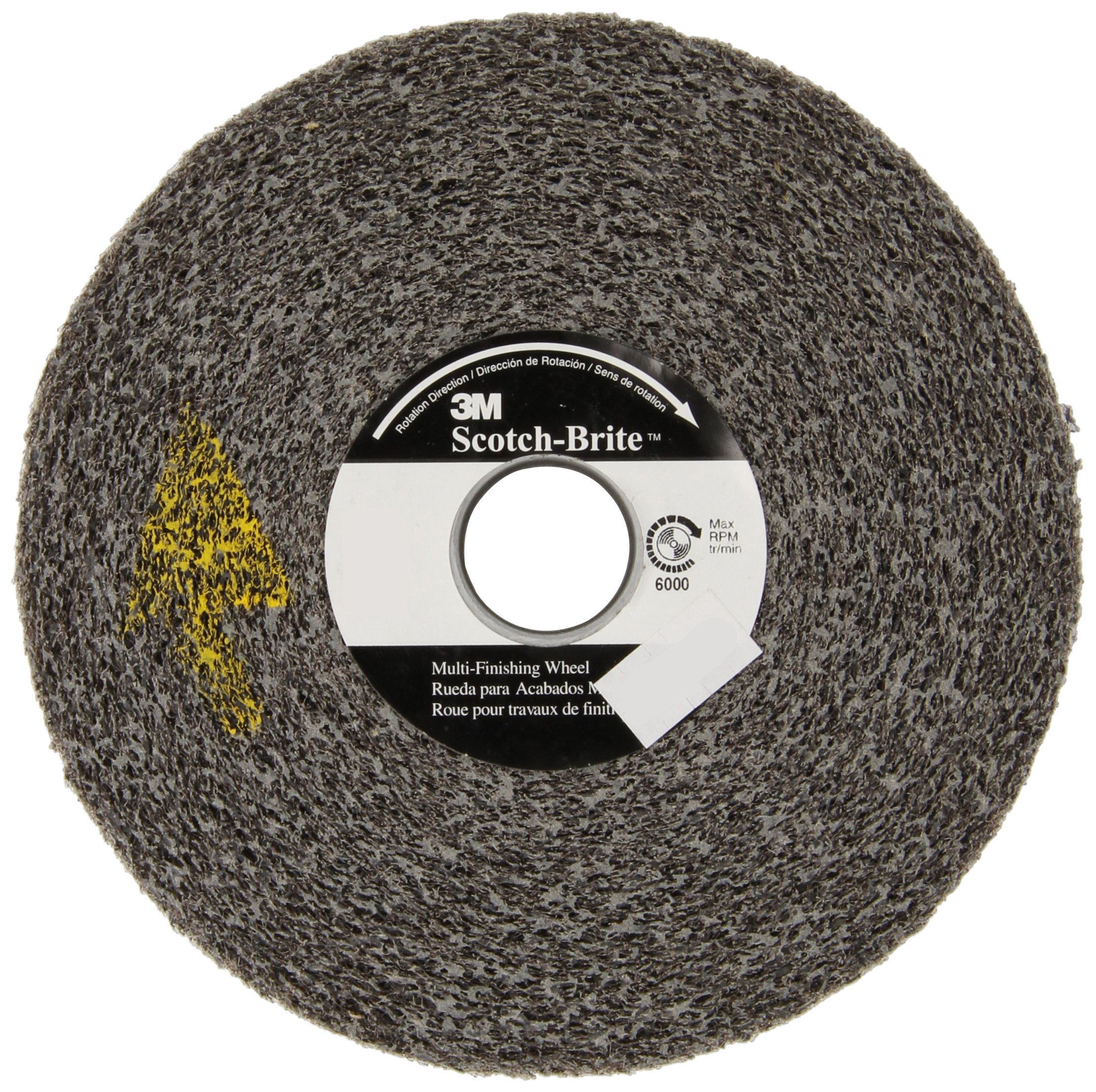 Scotch-Brite(TM) Multi-Finishing Wheel, Silicon Carbide, 6000 rpm, 6 Diameter x 3 Width, 1 Arbor, 2S Medium Grit (Pack of 1)