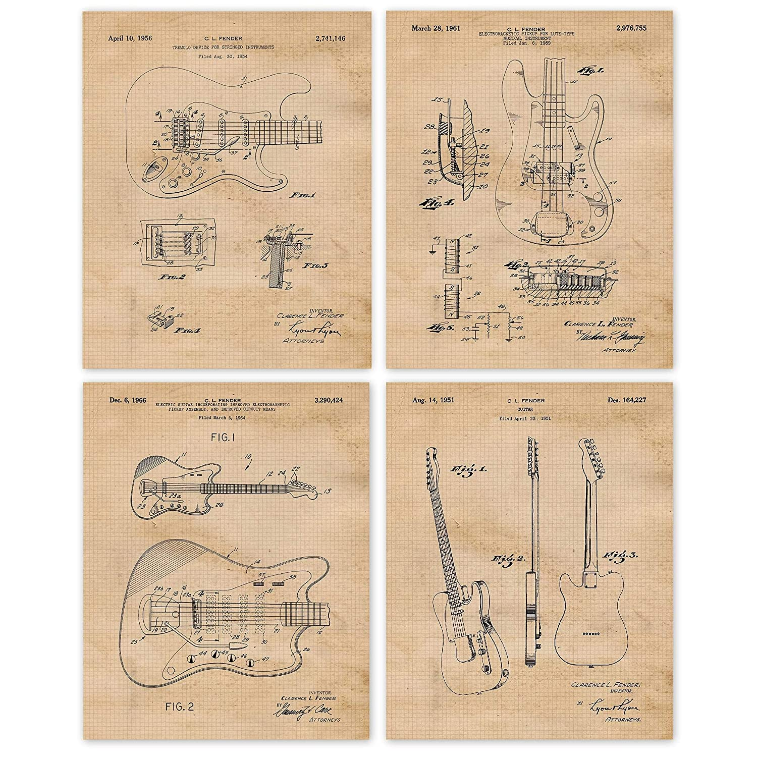 Vintage Fender Guitar Patent Poster Prints, Set of 4 (8x10) Unframed Photos, Wall Art Decor Gifts Under 20 for Home, Office, Man Cave, College Student, Teacher, Musician, Band, Rock & Roll Fan