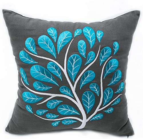 KainKain Grey Turquoise Throw Pillow Cover, Peacock Tree Embroider Cushion, Cotton Linen Square Floral Couch Sofa Cover, Modern Botanical Home Apartment Decor 26 inch x 26 inch