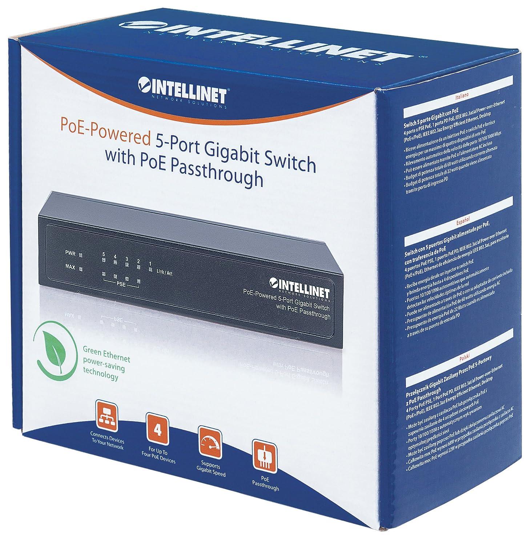 Intellinet 561082 5 Port Gigabit Poe Switch Computers Netgear Gs105e100pes Ethernet 5port Vlan Green Accessories