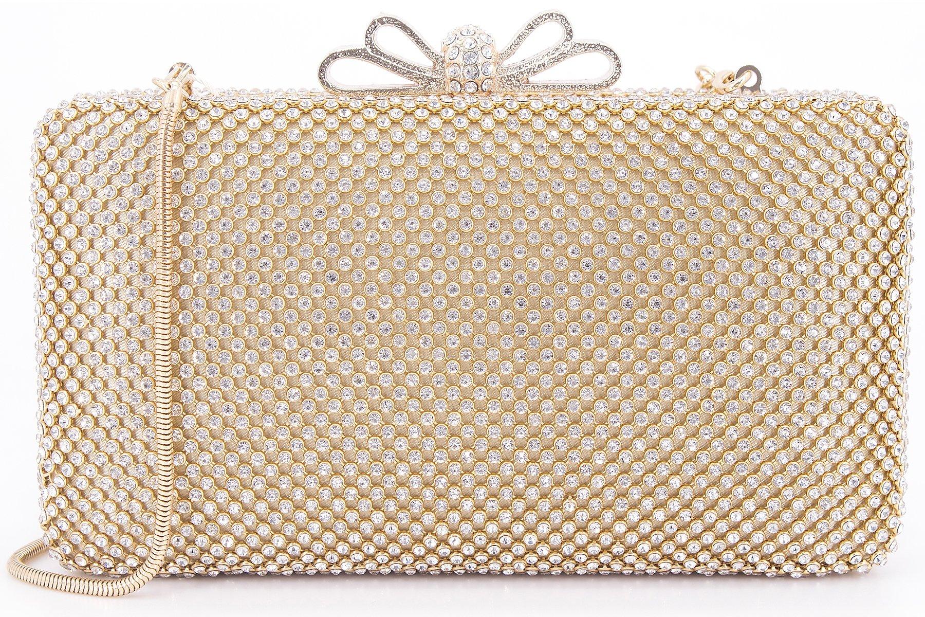Dexmay Bling Rhinestone Crystal Clutch Purse Bow Clasp Women Evening Bag for Bridesmaid Wedding Party Gold