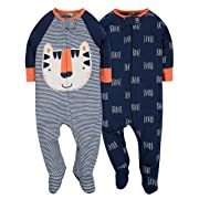 Gerber Baby Boys' 2 Pack Zip Front Sleep 'n Play, Tiger, 0-3 Months