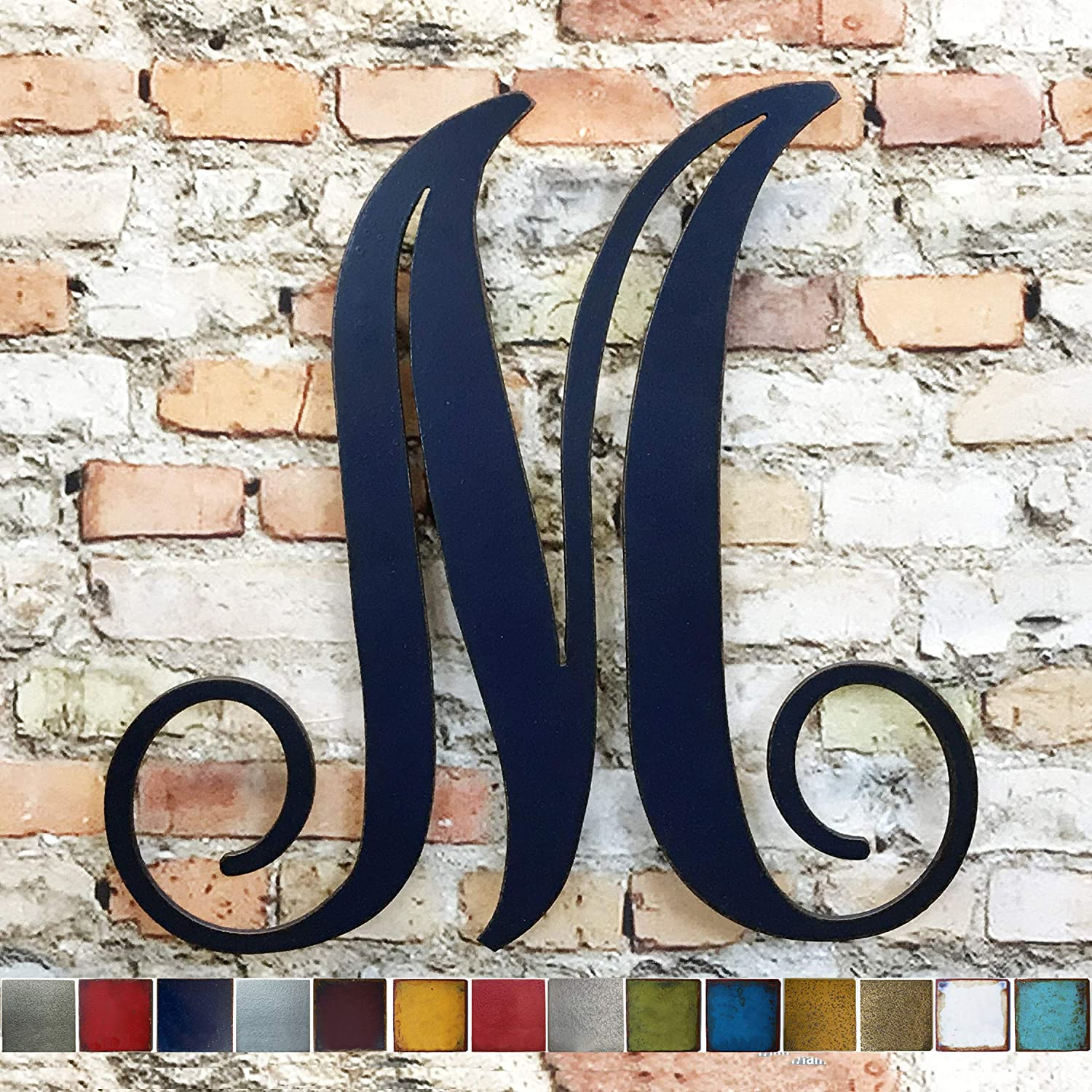 """Letter M - Metal Wall Art Home Decor - Handmade - Choose 8"""", 12"""", 16"""" or 22"""" tall - Custom Monogram - Choose your Patina Color, and any Letter or Number!"""