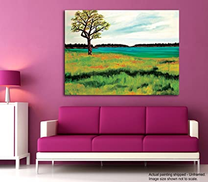 Tamatina Canvas Painting - Green Field - Home Décor - Paintings For ...