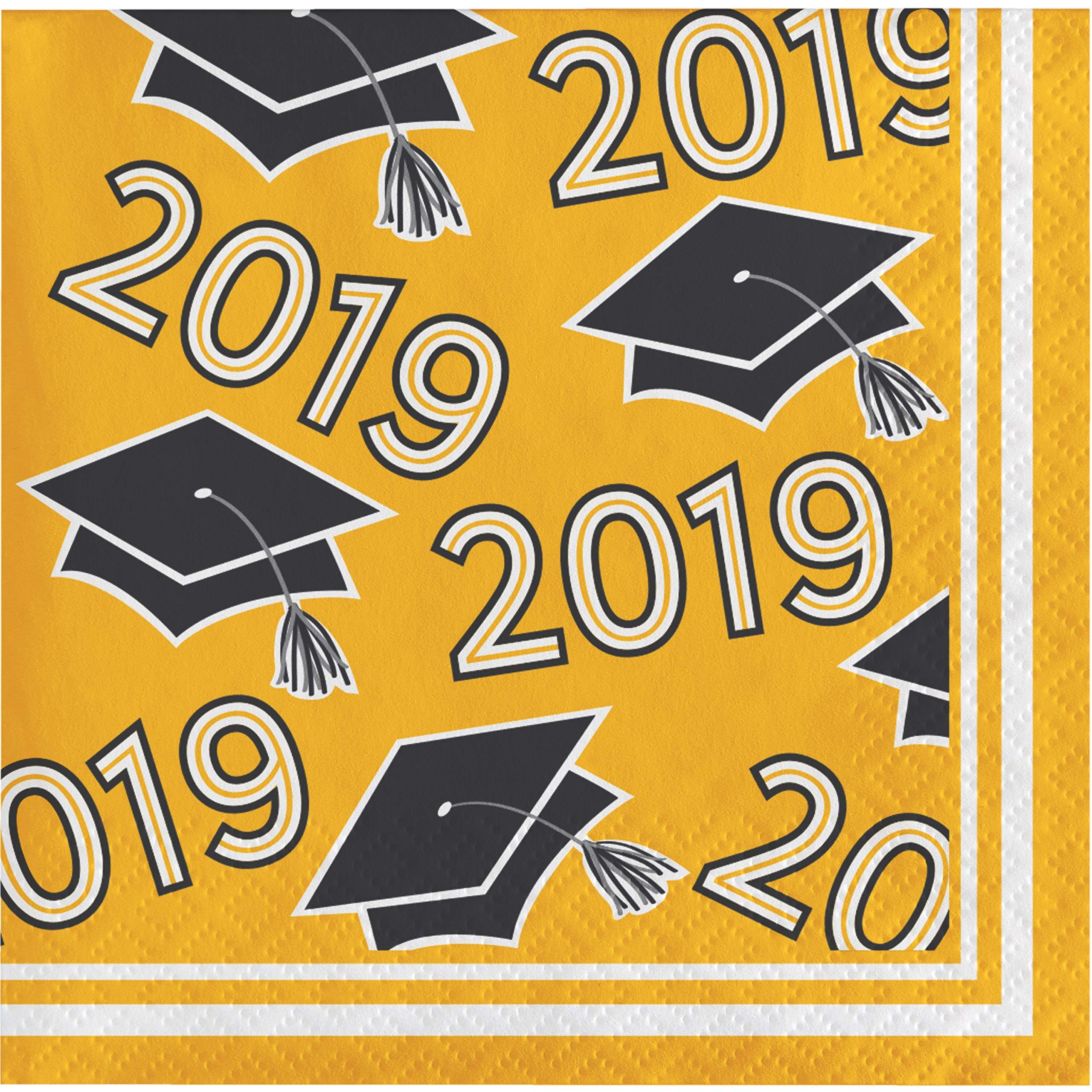 Creative Converting 335411case Yellow Class Of 2019 Beverage Napkins, 5'',