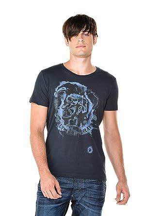 Diesel T-Shirt T-Maps pour Homme en Bleu Marine  Amazon.fr ... 348c1f4b0942