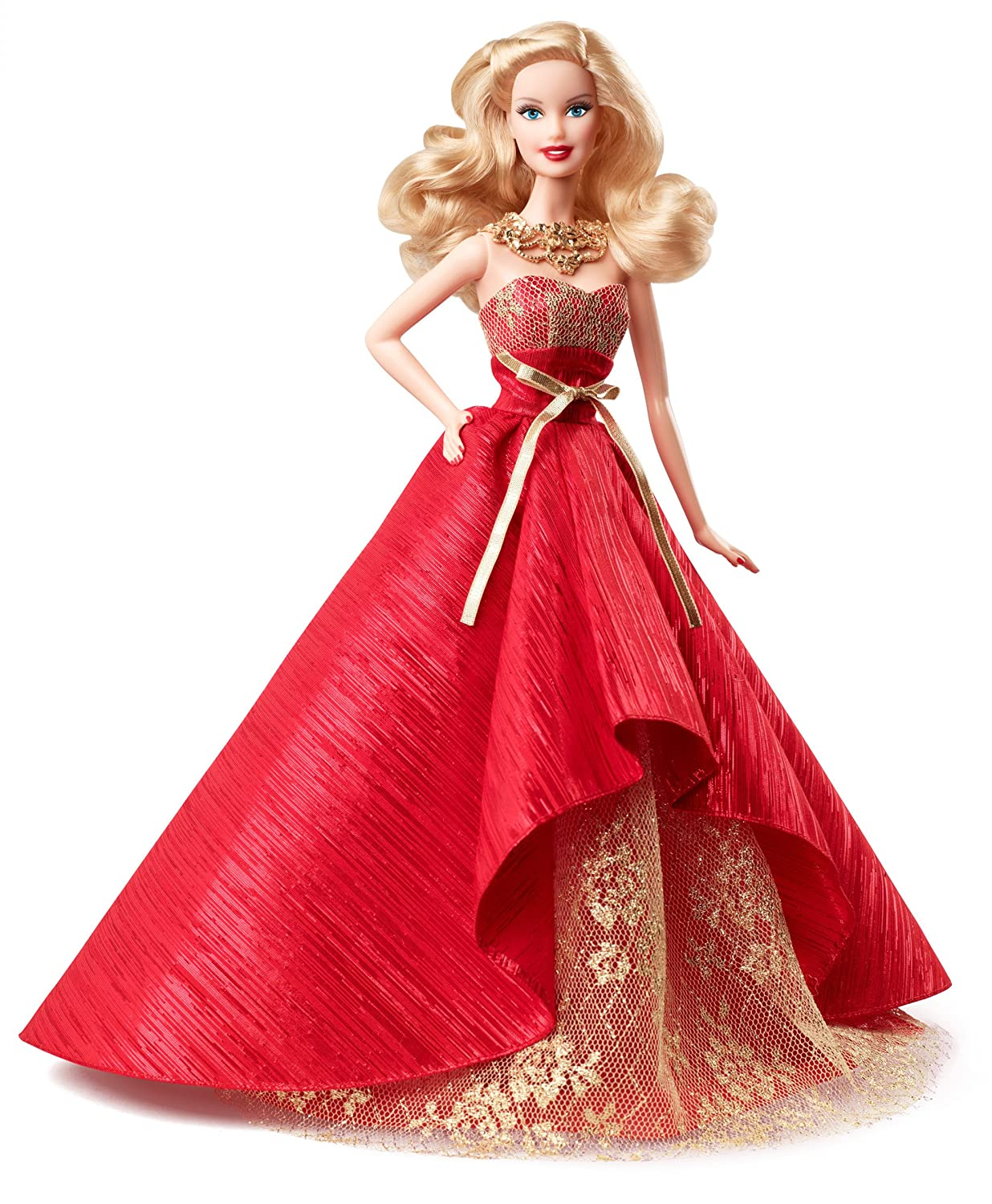Amazon.es: Barbie Felices Fiestas, muñeco en vestido, color rojo y ...