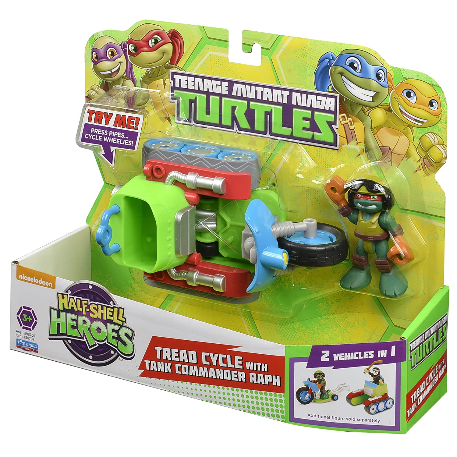 Teenage Mutant Ninja Turtles Pre-Cool Half Shell Heroes Motorcycle Tank with Raphael Vehicle and Figure Playmates Toys 96705
