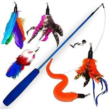 Juguete para gato con plumas reales y con campana para gatitos & Juguete para gato Premium ...