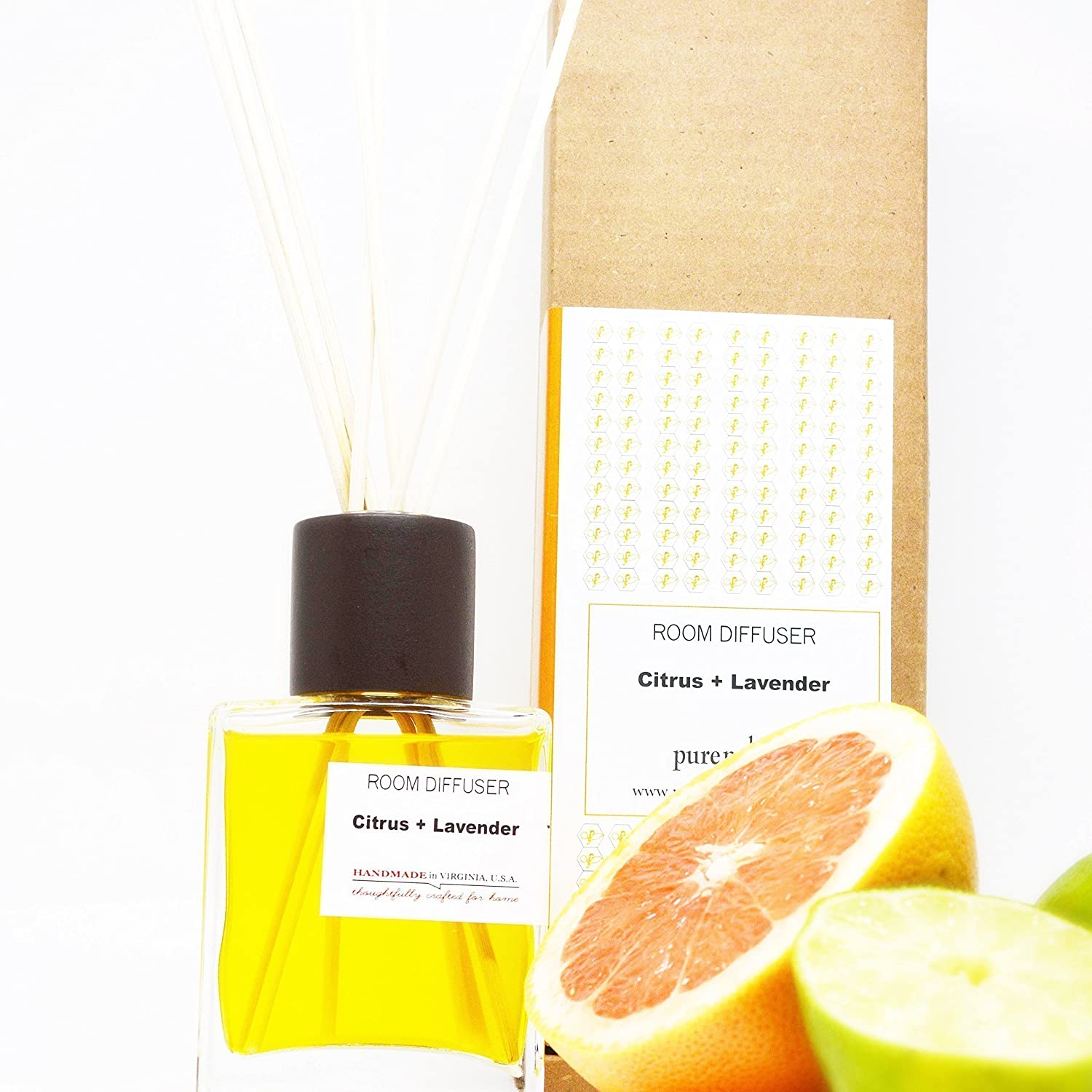 Citrus Lavender Spa Fragrance Room Diffuser Set with Natural Reeds and Box Handmade in Virginia U.S.A