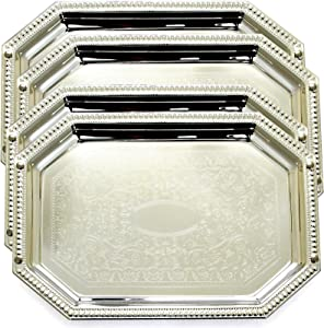 Maro Megastore (Pack of 4) 13.8-Inch x 9.8-Inch Octagonal Chrome Plate Serving Tray Edge Floral Engraved Decorative Wedding Birthday Dessert Snack Wine Candle Serving Platter Plate 155S TS-246