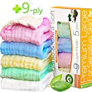 9-ply Deluxe Baby Muslin Washcloths for Kids-Washcloths Organic-Burp cloths 12