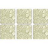 PIMPERNEL Marigold Green Coasters square set of 6