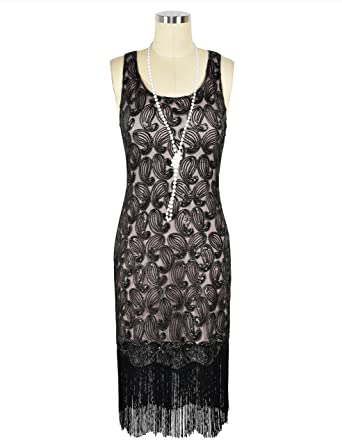 kayamiya Women's 1920s Sequin Paisley Pattern Fringe Gatsby Costume Flapper  Dress S Black Beige