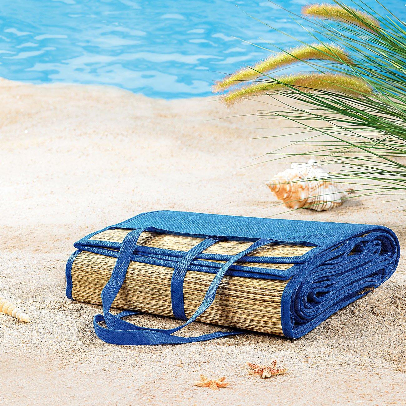 Strand Bast Matte Liegematte Perfekte Verarbeitung Badematte Bastmatte Gut 3 Stück Leichte Strandmatte
