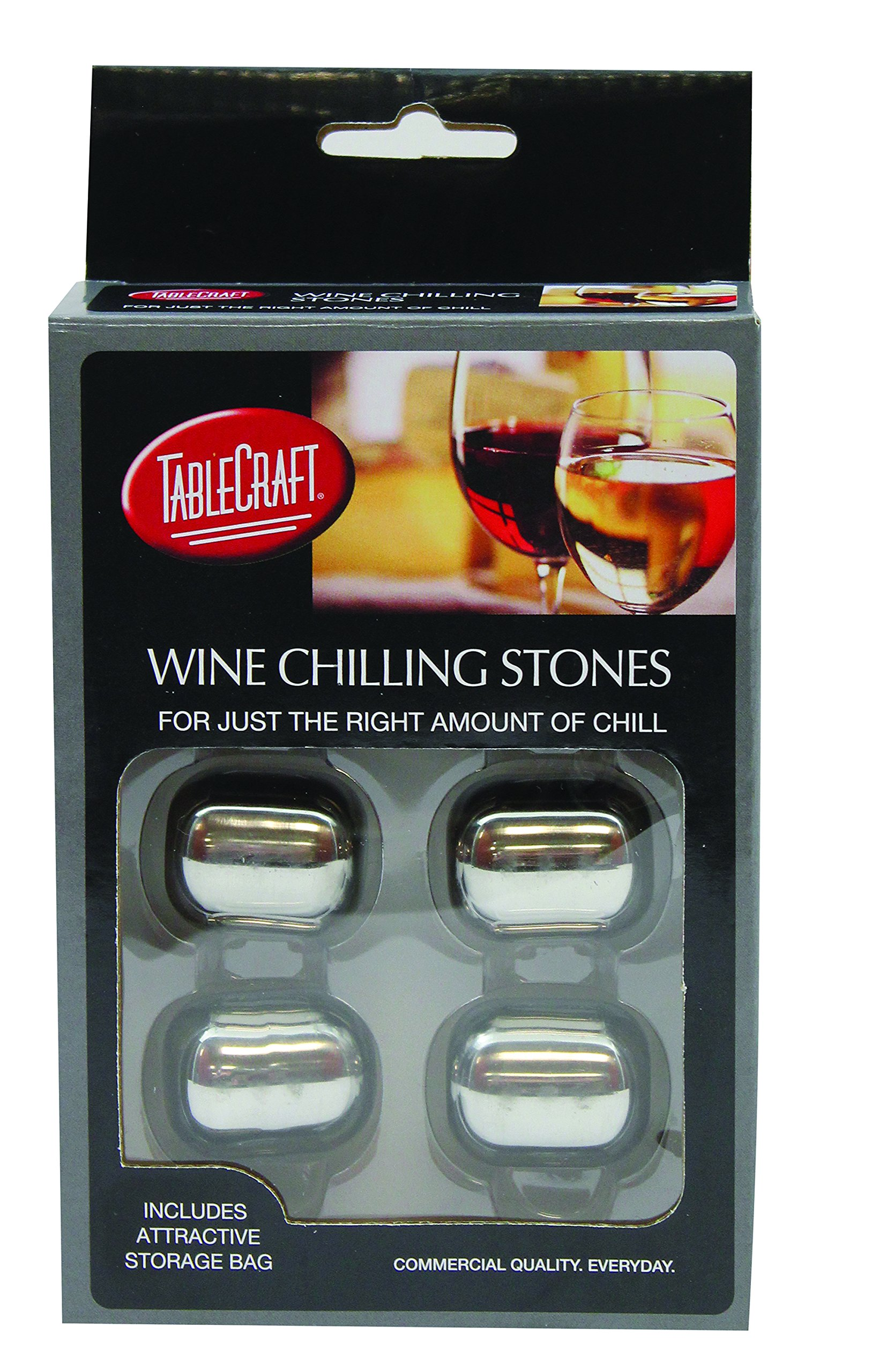 Tablecraft H2223 Stainless Steel Wine Chilling Stones (4 Pack), Small, Silver