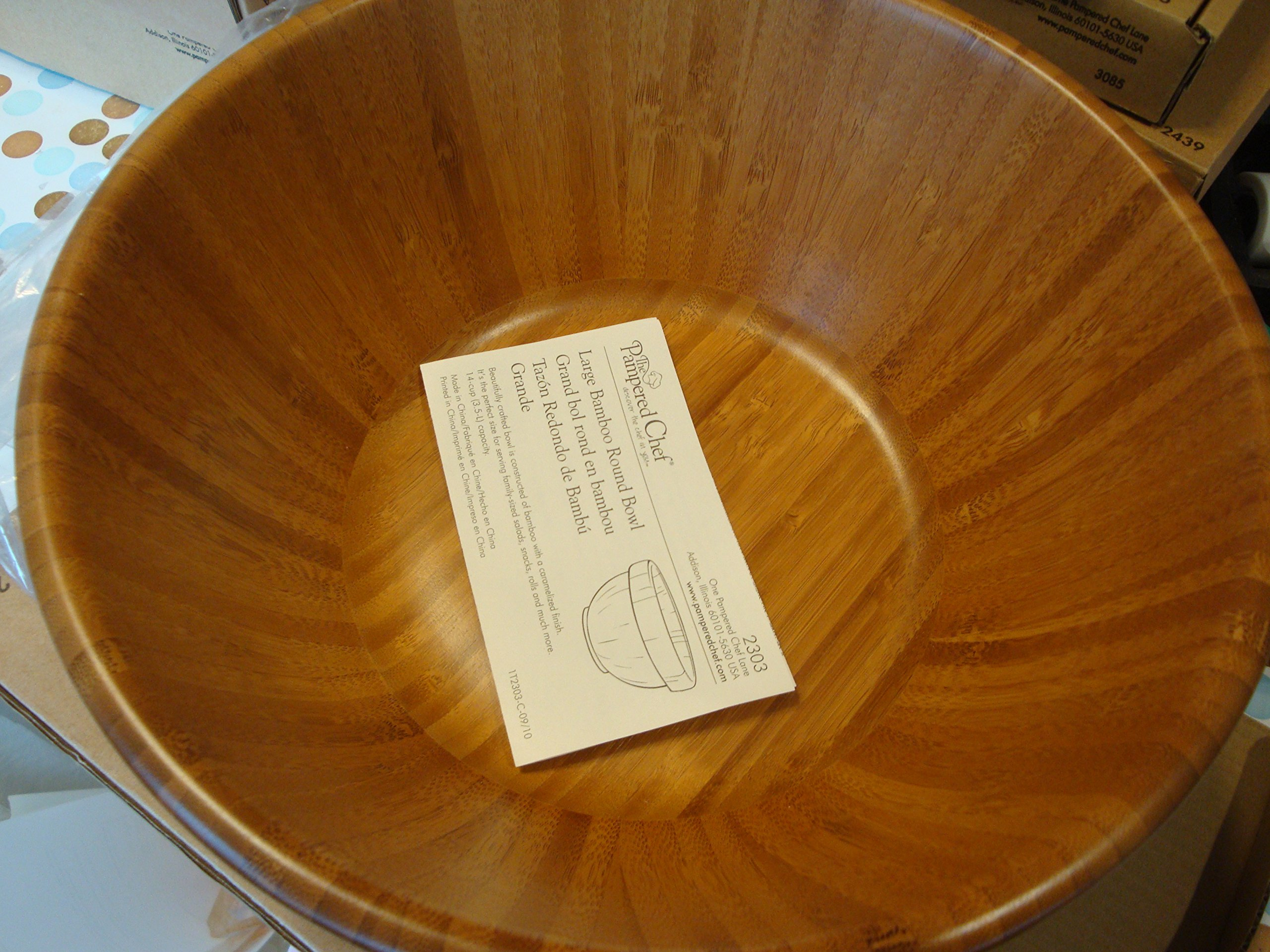 Pampered Chef Large Bamboo Round Bowl