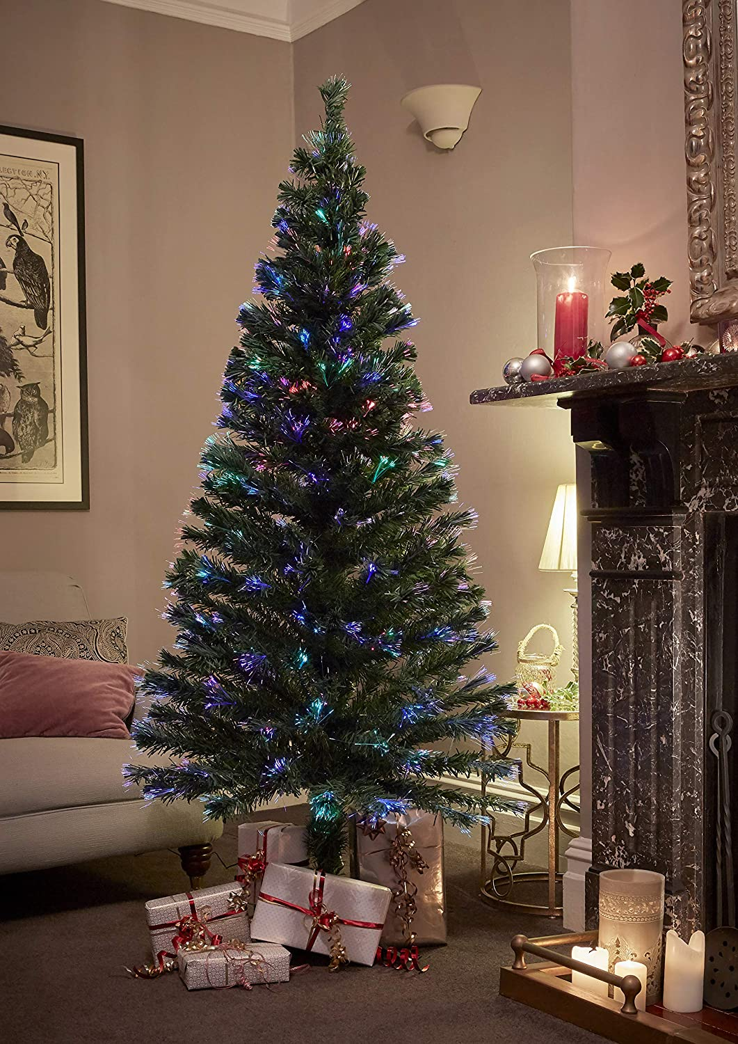 Jaymark Products Indoor Fibre Optic Christmas Tree (6ft 180cm Green Colour Changing Lights Fibre Optic Artificial Indoor Christmas Tree)