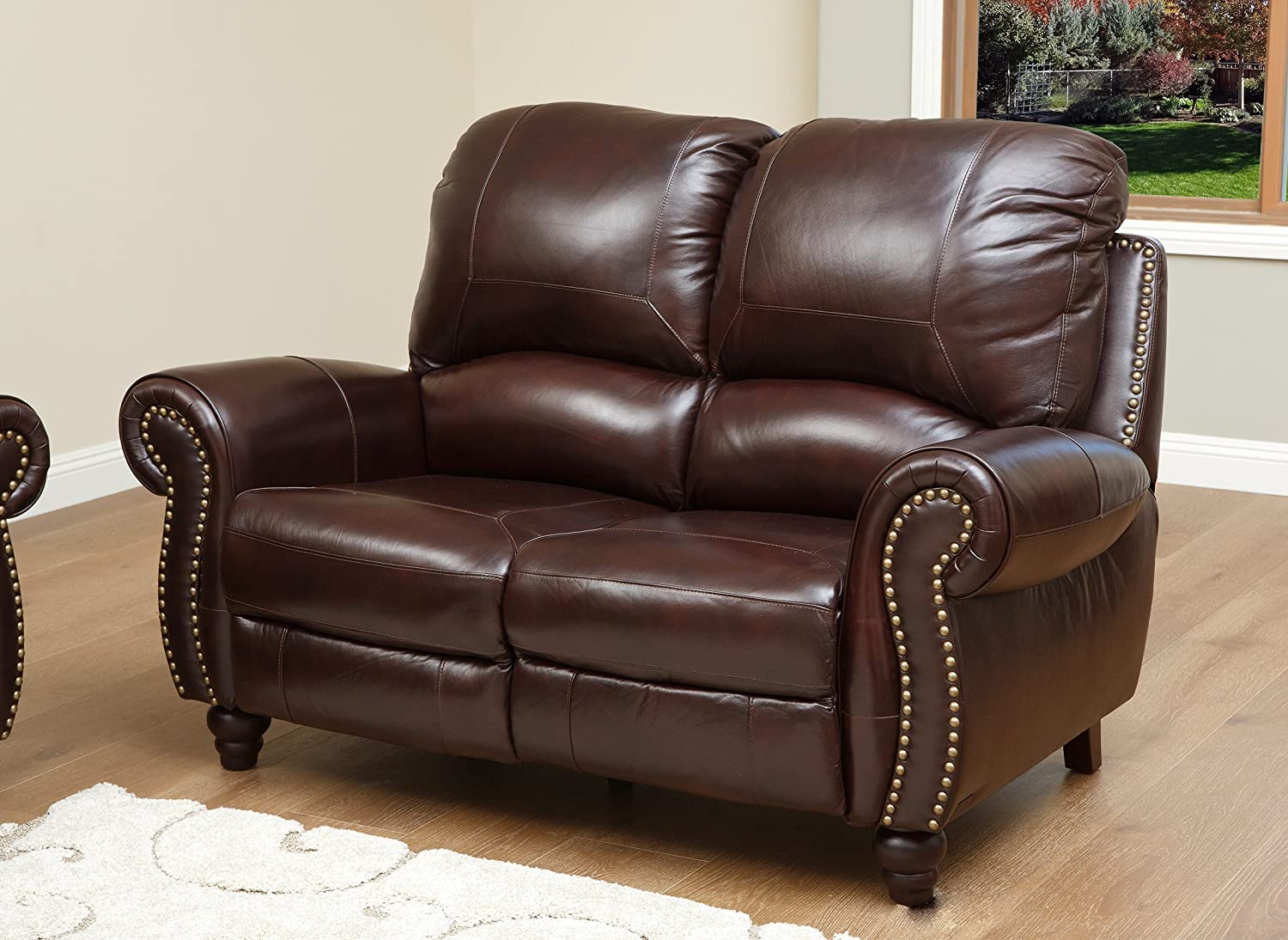 Amazon Abbyson Durham Leather Pushback Reclining Loveseat