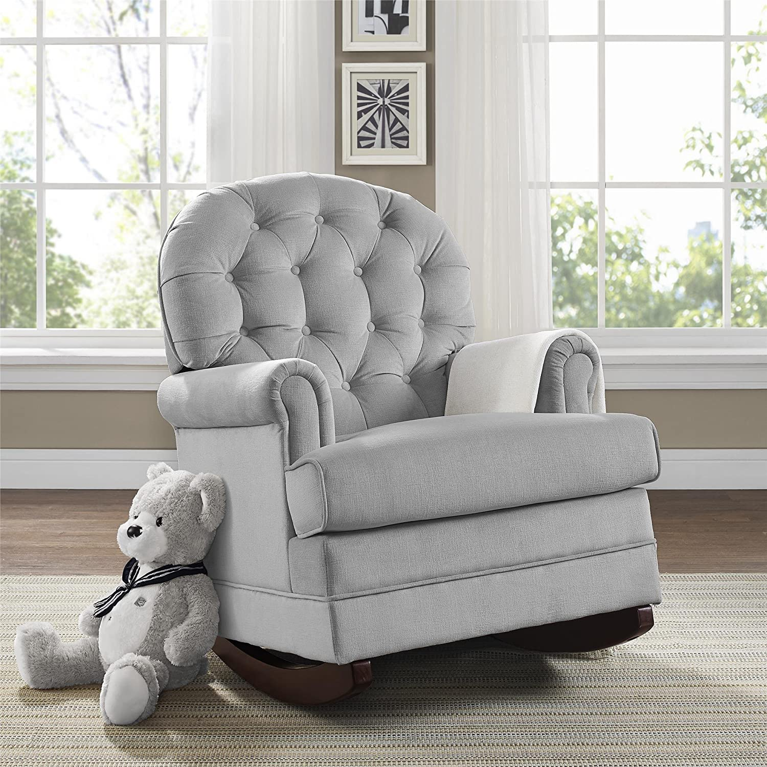 Amazon.com: Baby Relax Brielle Button Tufted, Upholstered Rocker/Gray: Baby