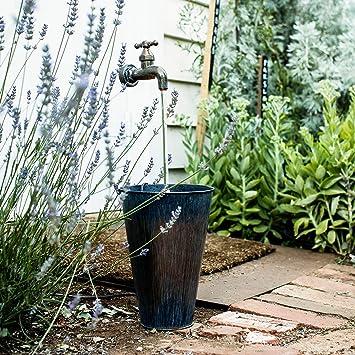 Lights4fun Fontaine Décorative Robinet et Seau en Zinc pour Jardin ...