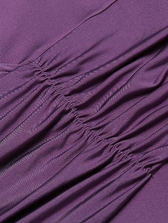 Guteer Damska Club-Kleid mit V-Ausschnitt und Schwungkragen - Violett - 54 Mehr: Odzież