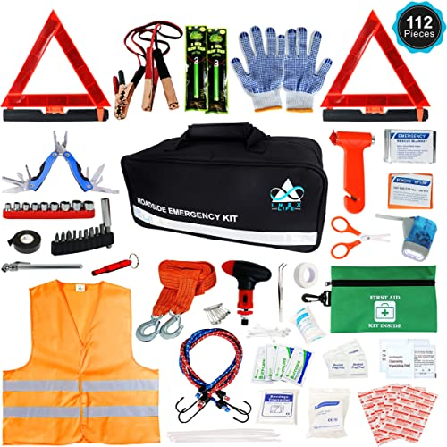 Inex's Roadside Emergency Car Kit – 112 Pieces Safety Assistance