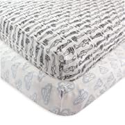 Hudson Baby 2 Piece Cotton Fitted Crib Sheet, Airplane, One Size
