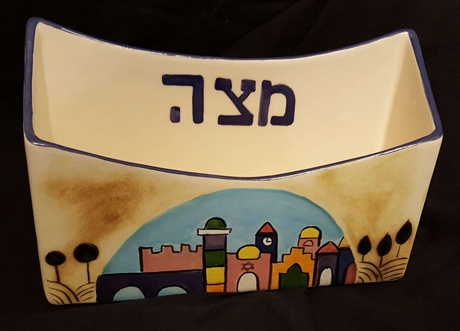 Jerualem Hand Painted Ceramic Matzah Plate and Wine Cup