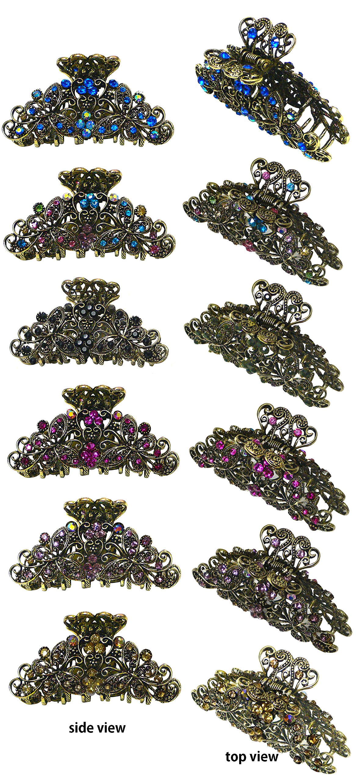 Set pf 6 Metal Jaw Clips Butterfly Claw Clips in Antique Gold Plating RW86410-6132-6