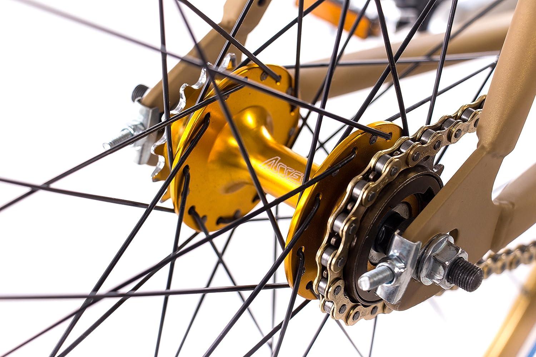 28/pulgadas Fixie CHRISSON FG Road 1.0/Bicicleta de carreras Fixed Gear Single Speed Oro Mate