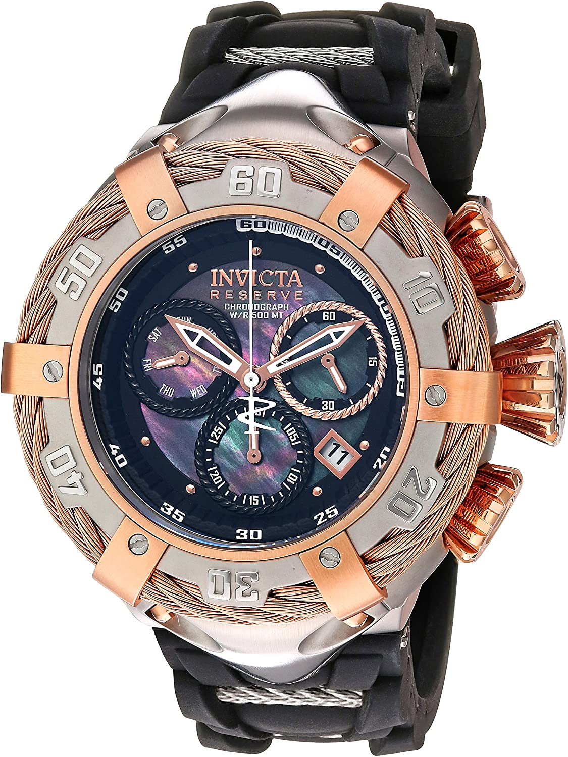 Invicta Men s Bolt Stainless Steel Swiss-Quartz Watch with Silicone Strap, Black, 30 Model 21363