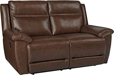 Wyatt Brown Top Grain Leather Pillow Top Arm Manual Motion Loveseat
