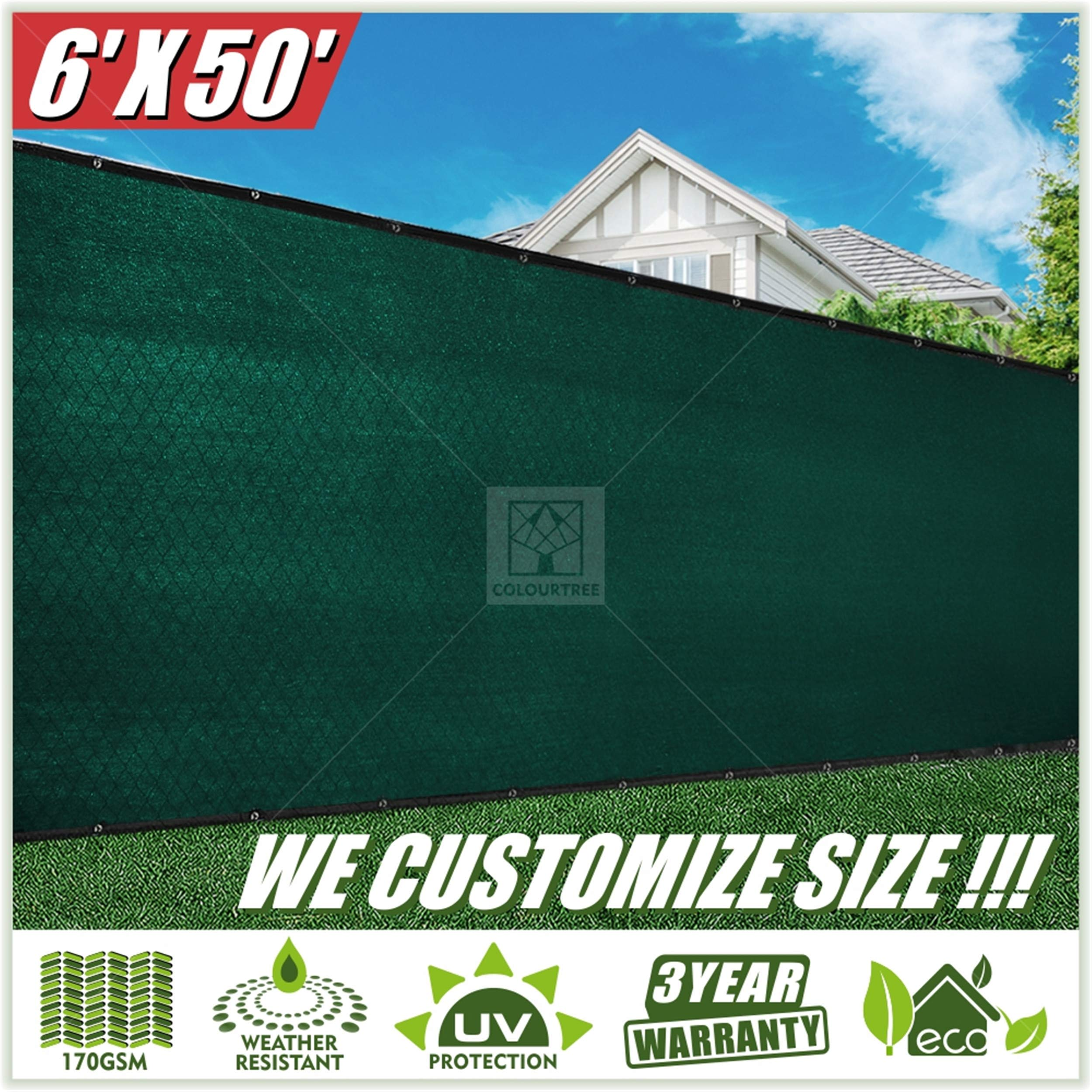 ColourTree 2nd Generation 6' x 50' Green Fence Privacy Screen Windscreen, Commercial Grade 170 GSM Heavy Duty, We Make Custom Size by ColourTree (Image #2)
