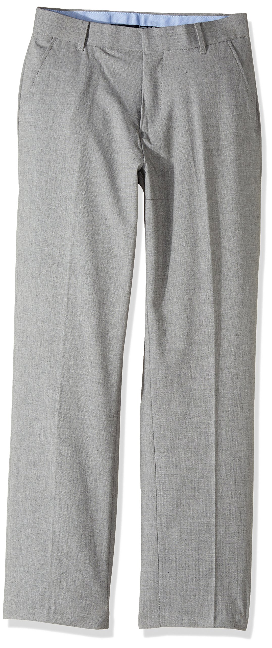 Tommy Hilfiger Big Boys' Flat Front Dress Pant, Light Grey, 14